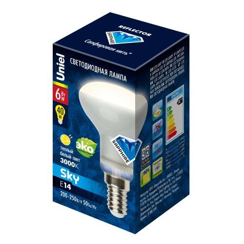 LED-R50-6W-WW-E14-FR PLS02WH Лампа светодиодная. Форма Рефлектор. матовая. Серия Sky. Теплый белый свет. Картон. ТМ Uniel.