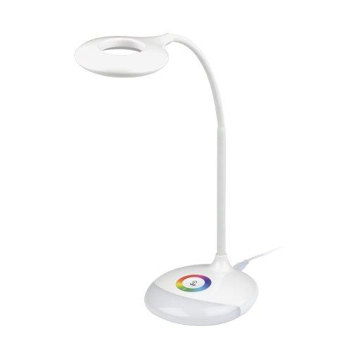 TLD-535 White-LED-250Lm-5500K-Dimmer Светильник настольный с ночником RGB. 4W. Встроенный аккумулятор 1800mAh. Сенсорный выключатель. Белый. TM Uniel.