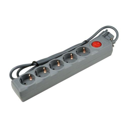 S-GSU5-1.5 GREY Cетевой фильтр серии Universal. 1.5м Пвс 3x0.75. 5 гнезд. с-з. 10А. Защита от перенапряжения. короткого замыкания. TM Uniel.