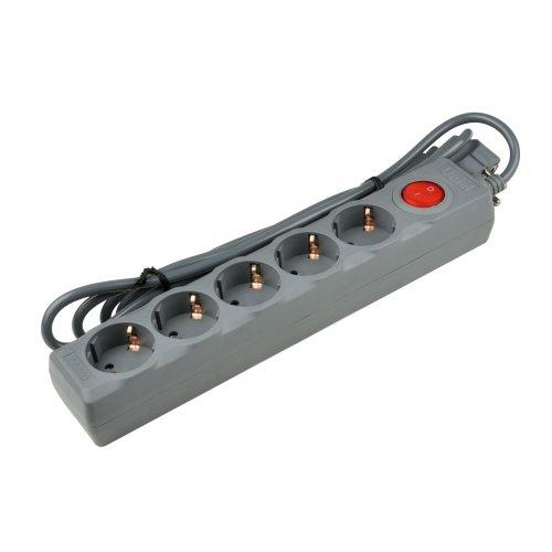 S-GSU5-5 GREY Cетевой фильтр серии Universal. 5м Пвс 3x0.75. 5 гнезд. с-з. 10А. Защита от перенапряжения. короткого замыкания. TM Uniel.