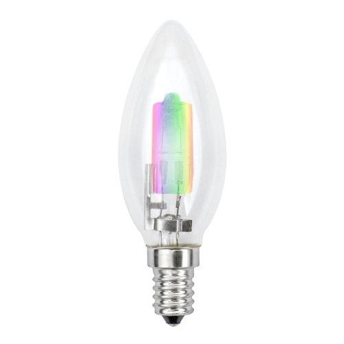 HCL-28-RB-E14 candle Лампа галогенная форма свеча. Прозрачная колба с радужным свечением. Картонная коробка