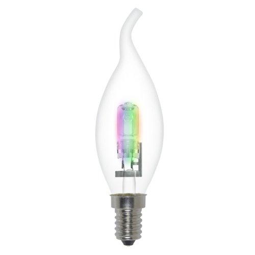 HCL-28-RB-E14 flame Лампа галогенная форма свеча на ветру. Прозрачная колба с радужным свечением. Картонная коробка