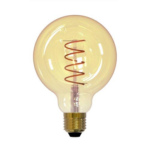 LED-G95-4W-GOLDEN-E27-CW GLV21GO Лампа светодиодная Vintage. Форма шар. золотистая колба. Cпиральная нить. Картон. ТМ Uniel