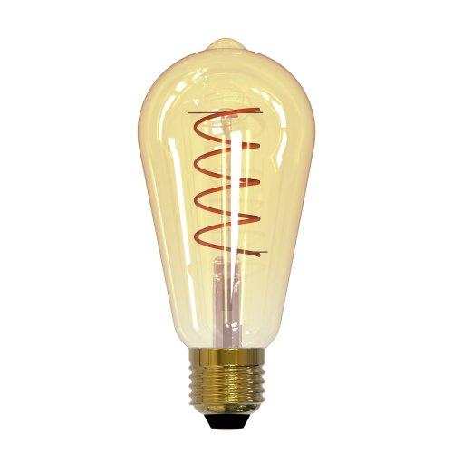 LED-ST64-4W-GOLDEN-E27-CW GLV22GO Лампа светодиодная Vintage. Форма конус. золотистая колба. Спиральная нить. Картон. ТМ Uniel