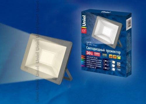 ULF-F15-30W-WW IP65 185-240В SILVER Прожектор светодиодный. Теплый белый свет 3000K. Корпус серебристый. TM Uniel.