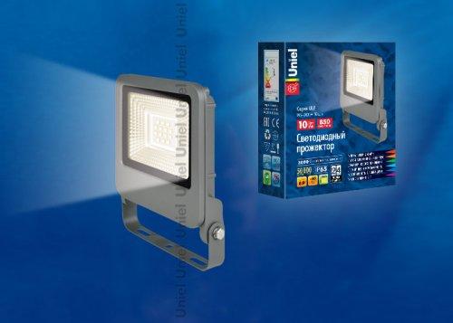 ULF-F17-10W-WW IP65 195-240В SILVER Прожектор светодиодный. Теплый белый свет 3000K. Корпус серебристый. TM Uniel.