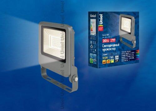 ULF-F17-20W-WW IP65 195-240В SILVER Прожектор светодиодный. Теплый белый свет 3000K. Корпус серебристый. TM Uniel.