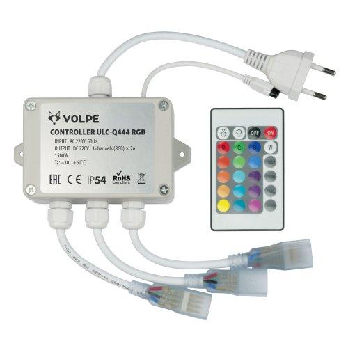 ULC-Q444 RGB WHITE Контроллер для управления светодиодными RGB ULS-5050 лентами 220В. 3 выхода. 1440Вт. с пультом ДУ ИК. ТМ Volpe.