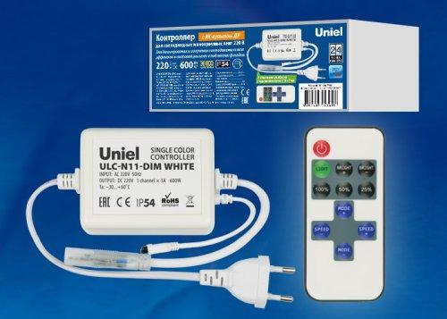 ULC-N11-DIM WHITE Контроллер для управления светодиодными одноцветными ULS-2835 лентами 220В. 1 выход. 600Вт. с пультом ДУ ИК. ТМ Uniel.
