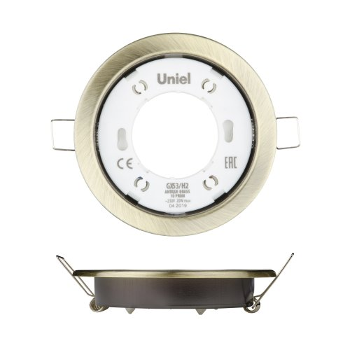 GX53-H2 ANTIQUE BRASS 10 PROM Светильник ультратонкий встраиваемый. В составе набора из 10шт. Корпус античная бронза. Картон. TM Uniel.
