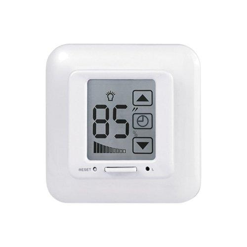 USW-001-LCD-DM-40-500W-TM-M-WH Выключатель с регулятором яркости лампы диммер и таймером выключения. Сенсорная панель. Блистер. Цвет белый