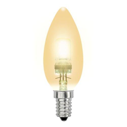 HCL-28-CL-E14 candle gold. Лампа галогенная свечка золотая. Картонная коробка