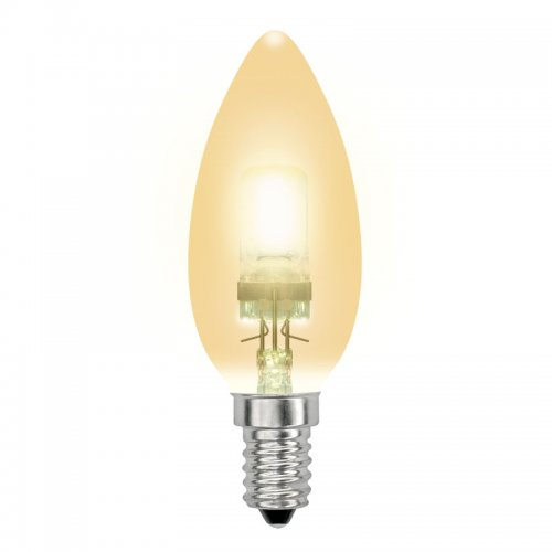 HCL-42-CL-E14 candle gold. Лампа галогенная свечка золотая. Картонная коробка