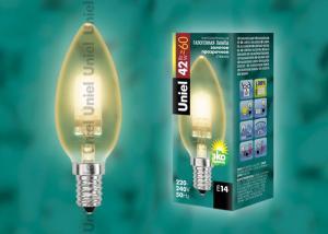 HCL-42-CL-E14 candle gold. Лампа галогенная свечка золотая. Картонная коробка