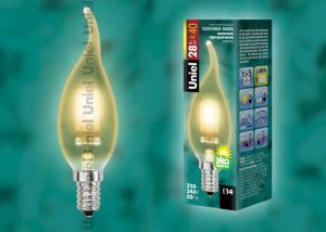 HCL-28-CL-E14 flame gold. Лампа галогенная свеча на ветру золотая. Картонная коробка