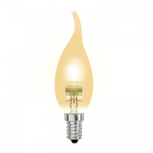 HCL-42-CL-E14 flame gold. Лампа галогенная свеча на ветру золотая. Картонная коробка