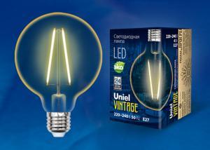 LED-G95-4W-GOLDEN-E27 GLV21GO Лампа светодиодная Vintage. Форма шар. золотистая колба. Картон. ТМ Uniel