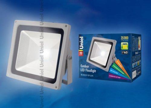 ULF-S01-50W-NW IP65 110-240В Прожектор светодиодный. Корпус серый. Цвет свечения белый. Степень защиты IP65. Картонная упаковка