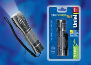 S-LD012-C Silver Фонарь Uniel серии Стандарт Classics element + max . алюминиевый корпус. 1 Watt Led. упаковка кламшелл. 3хААА н-к. цвет серебро
