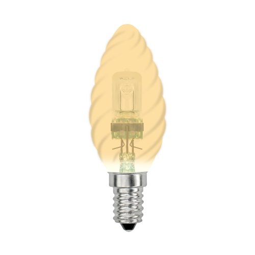 HCL-28-CL-E14 candle twisted gold. Лампа галогенная свечка витая золотая. Картонная коробка