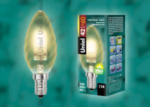 HCL-42-CL-E14 candle twisted gold. Лампа галогенная свечка витая золотая. Картонная коробка