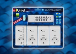 USH-P006-G4-300W-25M Пульт управления электроприборами с диммером. Серия Готовые решения. 4 канала + общая кнопка вкл-выкл. 300Вт на канал. Радиус действия 25 м. Упаковка блистер. Цвет белый