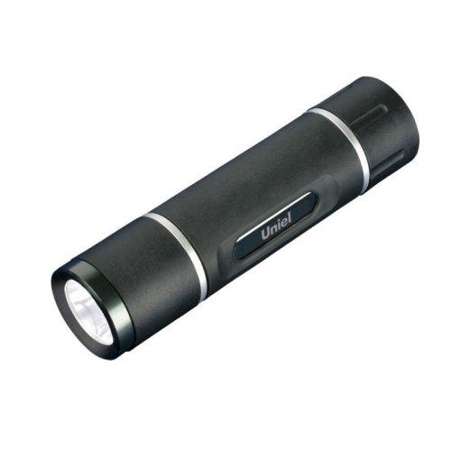 S-LD021-C Black Фонарь Uniel серии Стандарт Solid Grip. прорезиненный корпус. 1 W LED. упаковка кламшелл. 3хААА н-к. цвет черный