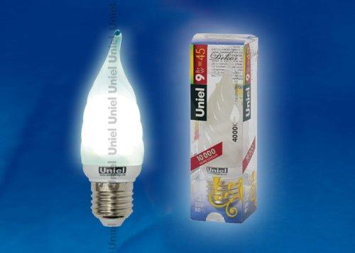 ESL-C21-TW9-4200-E27 Лампа энергосберегающая. Форма свеча витая матовая на ветру. Пластиковая упаковка