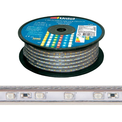 ULS-2835-60LED-m-10mm-IP67-220V-8W-m-50M-GREEN Светодиодная гибкая герметичная лента. Бобина 50 м. Зеленый свет. TM Uniel.