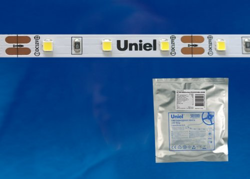 ULS-2835-60LED-m-8mm-IP20-DC12V-6W-m-5M-DW Гибкая светодиодная лента на самоклеящейся основе. Катушка 5 м. в герметичной упаковке. Дневной белый свет. ТМ Uniel.