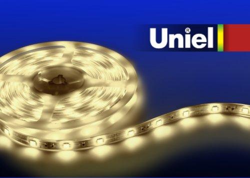 ULS-3528-60LED-m-8mm-IP33-DC12V-4.8W-m-3M-WW Гибкая светодиодная лента UNIEL на самоклеящейся основе. Упаковка катушка 3 м. в герметичной упаковке. IP20. Угол излучения 120 . Теплый белый свет.