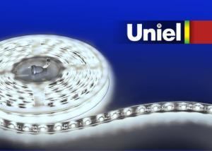 ULS-3528-60LED-m-8mm-IP33-DC24V-4.8W-m-3M-W Гибкая светодиодная лента UNIEL на самоклеящейся основе. Упаковка катушка 3 м. в герметичной упаковке. IP33. Угол излучения 120 . Белый свет.