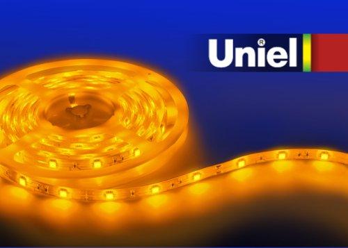 ULS-5050-30LED-m-10mm-IP20-DC12V-7.2W-m-5M-YELLOW Гибкая светодиодная лента UNIEL на самоклеящейся основе. Упаковка катушка 5 м. в герметичной упаковке. IP20. Угол излучения 120 . Желтый свет.