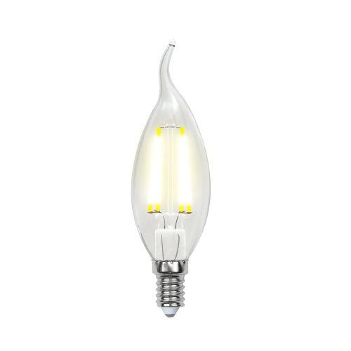LED-CW35-6W-NW-E14-CL PLS02WH Лампа светодиодная. Форма свеча на ветру. прозрачная. Серия Sky. Белый свет. Картон. ТМ Uniel