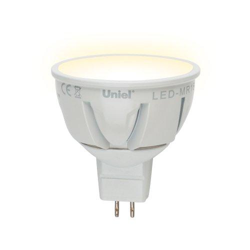 LED-MR16-5W-WW-GU5.3-FR PLP01WH Лампа светодиодная. Форма JCDR. матовый рассеиватель. Серия Palazzo. Теплый белый свет. Картон. ТМ Uniel.