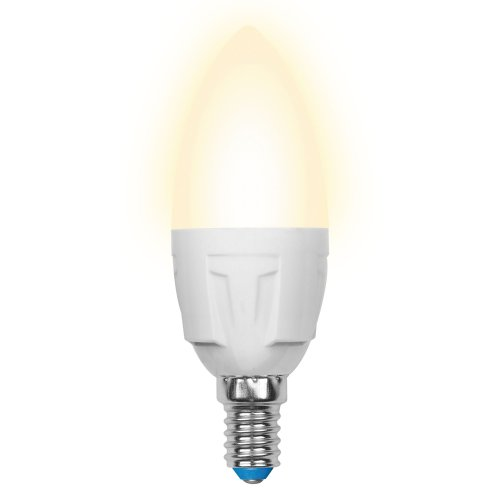 LED-C37-7W-WW-E14-FR PLP01WH Лампа светодиодная. Форма свеча. матовая. Серия Palazzo. Теплый белый свет. Картон. ТМ Uniel.