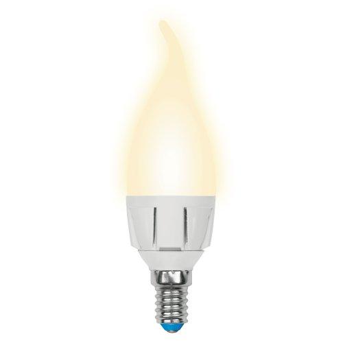 LED-CW37-7W-WW-E14-FR PLP01WH Лампа светодиодная. Форма свеча на ветру. матовая. Серия Palazzo. Теплый белый свет. Картон. ТМ Uniel.