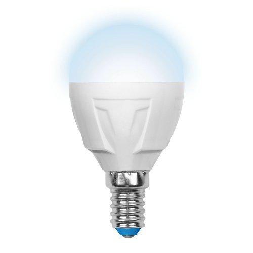 LED-G45-7W-NW-E14-FR PLP01WH Лампа светодиодная. Форма шар. матовая. Серия Palazzo. Белый свет. Картон. ТМ Uniel.