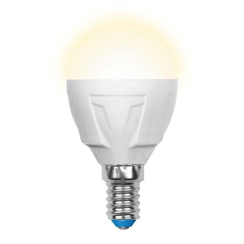 LED-G45-7W-WW-E14-FR PLP01WH Лампа светодиодная. Форма шар. матовая. Серия Palazzo. Теплый белый свет. Картон. ТМ Uniel.