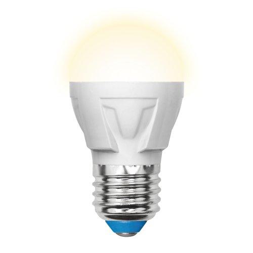 LED-G45-7W-WW-E27-FR PLP01WH Лампа светодиодная. Форма шар. матовая. Серия Palazzo. Теплый белый свет. Картон. ТМ Uniel.