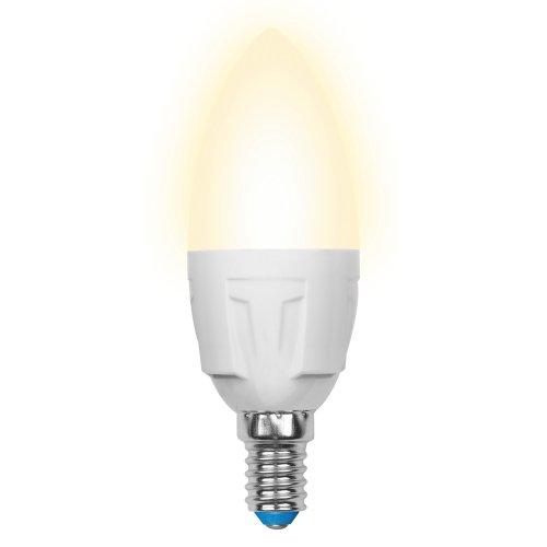 LED-C37-6W-WW-E14-FR-DIM PLP01WH Лампа светодиодная диммируемая. Форма свеча. матовая. Серия Palazzo. Теплый белый свет. Картон. ТМ Uniel.