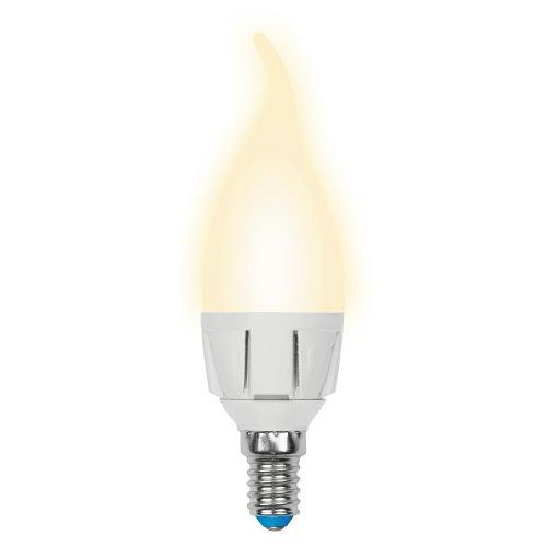 LED-CW37-6W-WW-E14-FR-DIM PLP01WH Лампа светодиодная диммируемая. Форма свеча на ветру. матовая. Серия Palazzo. Теплый белый свет. Картон. ТМ Uniel.