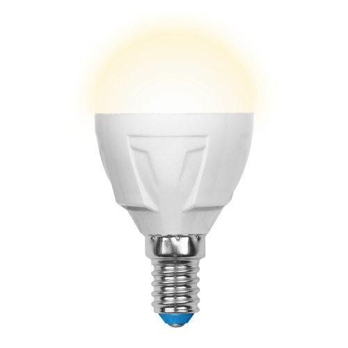 LED-G45-6W-WW-E14-FR-DIM PLP01WH Лампа светодиодная диммируемая. Форма шар. матовая. Серия Palazzo. Теплый белый свет. Картон. ТМ Uniel.
