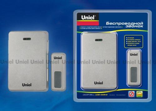 UDB-005W-R1T1-32S-100M-SL Звонок беспроводной. Блистерная упаковка. Цвет серебристый