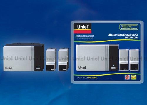 UDB-008W-R1T2-32S-100M-SL Звонок беспроводной. Блистерная упаковка. Цвет серебристый