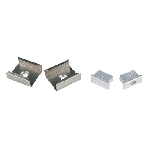 UFE-N02 SILVER A POLYBAG Набор аксессуаров для алюминиевого профиля. Крепежные скобы 4 шт.. сталь и заглушки 4 шт.. пластик. Цвет серебро. ТМ Uniel.