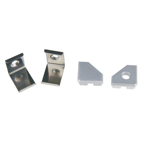 UFE-N03 SILVER A POLYBAG Набор аксессуаров для алюминиевого профиля. Крепежные скобы 4 шт.. сталь и заглушки 4 шт.. пластик. Цвет серебро. ТМ Uniel.