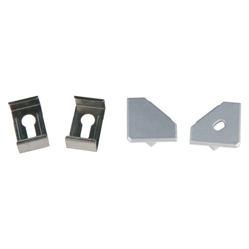 UFE-N04 SILVER A POLYBAG Набор аксессуаров для алюминиевого профиля. Крепежные скобы 4 шт.. сталь и заглушки 4 шт.. пластик. Цвет серебро. ТМ Uniel.