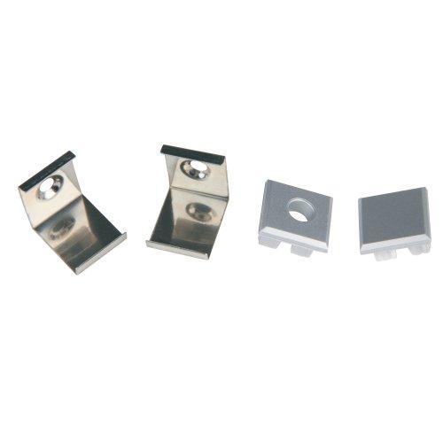 UFE-N05 SILVER A POLYBAG Набор аксессуаров для алюминиевого профиля. Крепежные скобы 4 шт.. сталь и заглушки 4 шт.. пластик. Цвет серебро. ТМ Uniel.