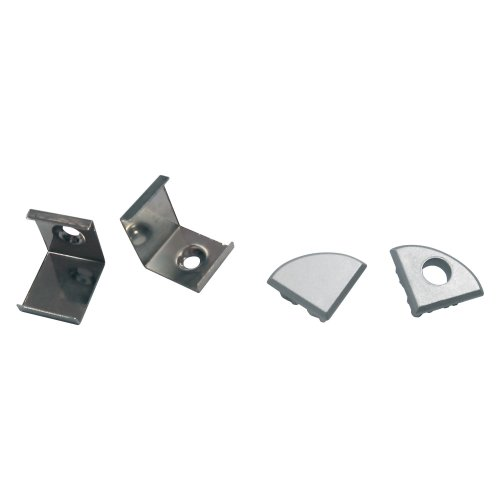 UFE-N06 SILVER A POLYBAG Набор аксессуаров для алюминиевого профиля. Крепежные скобы 4 шт.. сталь и заглушки 4 шт.. пластик. Цвет серебро. ТМ Uniel.